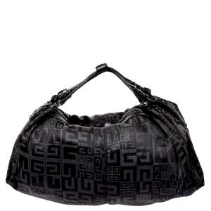 Givenchy Black Monogram Nylon and Leather Double Handle Hobo