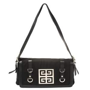 Givenchy Black Canvas And Leather Flap Shoulder Bag