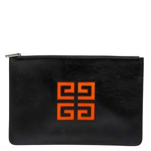 Givenchy Black Leather Zip Clutch