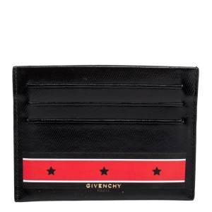 Givenchy Black Patent Leather Stars And Stripes Print Cardholder