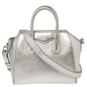 Givenchy Silver Leather Mini Antigona Satchel