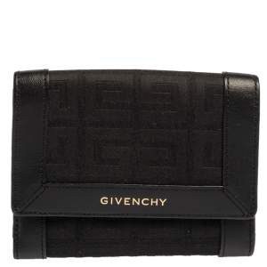 Givenchy Black Monogram Fabric and Leather Trim Flap Compact Wallet