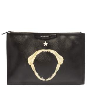 Givenchy Black Patent Leather Printed Clutch