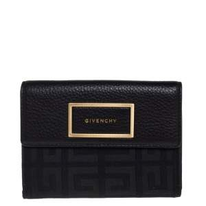 Givenchy Black Monogram Fabric and Leather Flap Compact Wallet