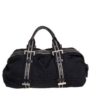 Givenchy Black Monogram Nylon Buckle Handle Satchel