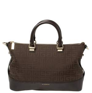 Givenchy Chocolate Brown Monogram Canvas and Leather Satchel