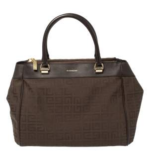 Givenchy Chocolate Brown Monogram Canvas and Leather Double Zip Tote