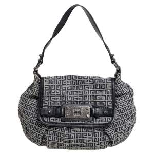Givenchy Grey/Black Monogram Canvas and Leather Trim Hobo