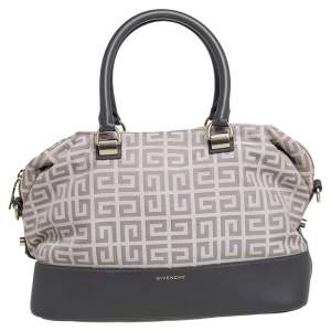 Givenchy Beige/Grey Monogram Canvas and Leather Satchel