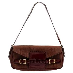 Givenchy Brown/Burgundy Signature Canvas and Leather Flap Baguette