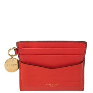Givenchy Red Croc Embossed Leather and Leather Card Case
