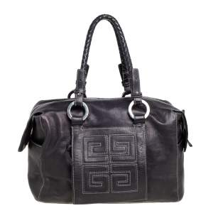 Givenchy Black Leather Logo Embossed Braided Handle Satchel