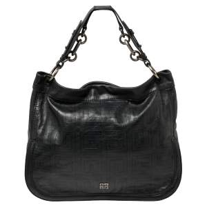 Givenchy Black Logo Embossed Leather Chain Detail Hobo