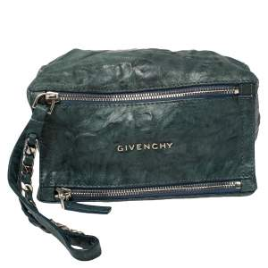 Givenchy Teal Blue Distressed Leather Pandora Clutch