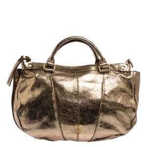 حقيبة يد جيفنشي ايست ويست متوسطة جلد لامع ذهبي