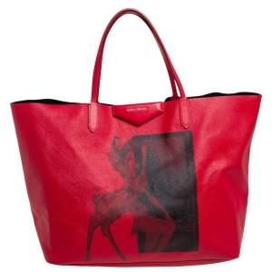حقيبة يد جيفنشي أنتيغونا شوبر جلد وكانفاس مقوى طباعة بامبي أحمر