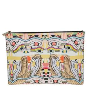Givenchy Yellow Iconic Dragon Printed Patent Leather Clutch