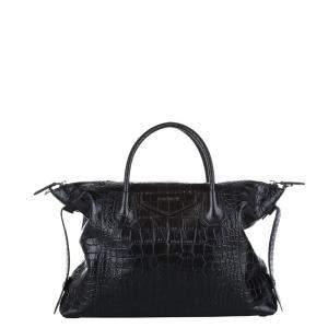 Givenchy Black Croc Embossed Leather Antigona Large Satchel Bag