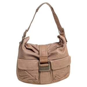 Givenchy Beige Leather Front Pocket Hobo