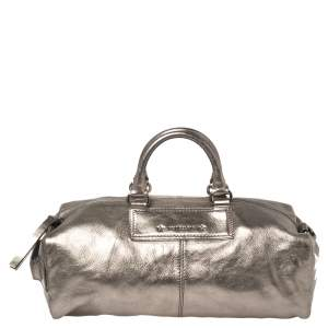 Givenchy Metallic Grey Soft Leather Boston Bag