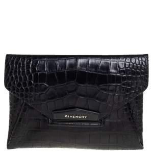حقيبة كلتش جيفنشي أنتيغونا جلد نقشة التمساح أسود متوسطة
