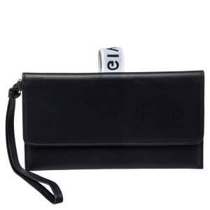 Givenchy Black Leather Flap Wristlet Clutch