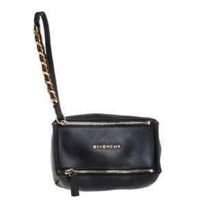 Givenchy Black Rubber Pandora Wristlet Clutch