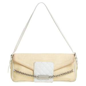 Givenchy Yellow Signature Canvas and Leather Flap Baguette