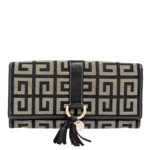 Givenchy Black/Grey Monogram Canvas and Leather Continental Wallet