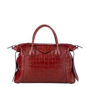 Givenchy Red Croc Embossed Leather Antigona Large Satchel Bag