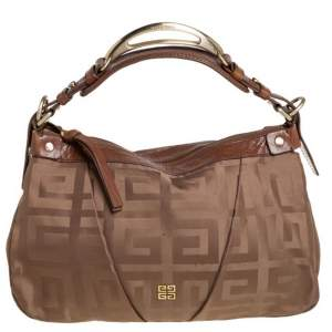 Givenchy Brown Signature Satin And Leather Hobo