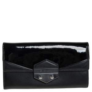 Givenchy Black Patent and Leather Flap Continental Wallet
