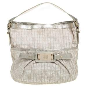 Givenchy Gold/Beige Shimmering Textured Canvas and Leather Logo Hobo