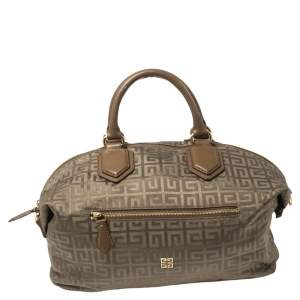 Givenchy Green/Brown Monogram Fabric and Leather Nightingale Satchel