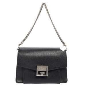 Givenchy Black Leather GV3 Crossbody Bag