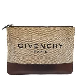 Givenchy Beige/Brown Canvas and Leather Flat Zip Pouch