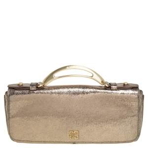 Givenchy Gold Crinkled Leather Cut Out Metal Handle Clutch