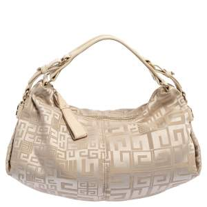 Givenchy Beige Monogram Canvas and Leather Hobo