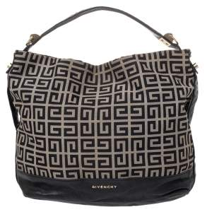 Givenchy Beige/Black Monogram Canvas And Leather Hobo