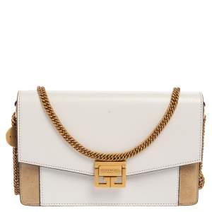 Givenchy White/Beige Leather and Suede Mini GV3 Crossbody Bag