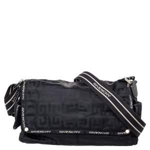 Givenchy Black Monogram Nylon  Flap Shoulder Bag