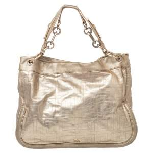 Givenchy Gold Monogram Patent Leather Hobo