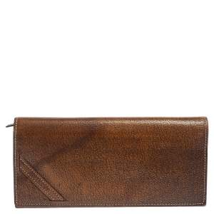 Givenchy Brown Textured Leather Flap Continental Wallet