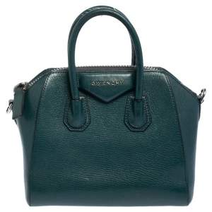 Givenchy Dark Green Leather Mini Antigona Satchel