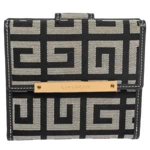 Givenchy Grey/Black Monogram Canvas Compact Wallet
