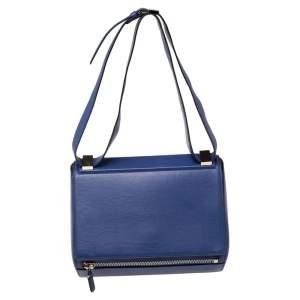 Givenchy Blue Leather Medium Pandora Box Bag