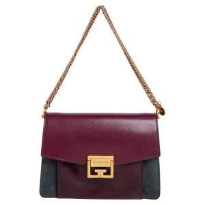 Givenchy Burgundy/Grey Leather and Suede GV3 Shoulder Bag