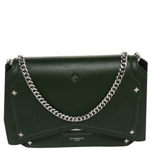 Givenchy Green Leather Bow Cut Flap Crossbody Bag