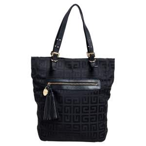 Givenchy Black Signature Canvas Small Vertical Tassel Tote