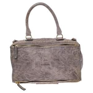 Givenchy Pale Mauve Crinkled Leather Old Medium Pandora Shoulder Bag